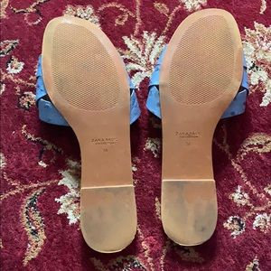 Zara Shoes - Zara Ostrich Print Sliders Flat Sandals